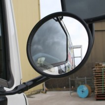 Small safety mirrors for mounting to forklifts and trucks