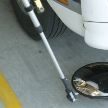 A lightweight inspection mirror for checking under vehicles during security operations