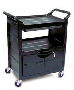 "3457 Utility Cart with Lockable Doors, Sliding Drawer and 4"" dia (10.2 cm) Swivel Casters"