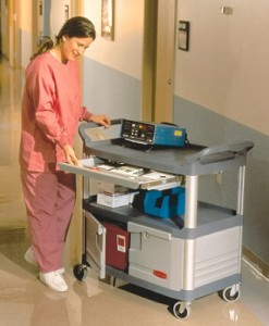 4094 Instrument Cart with Lockable Doors and Sliding Drawers