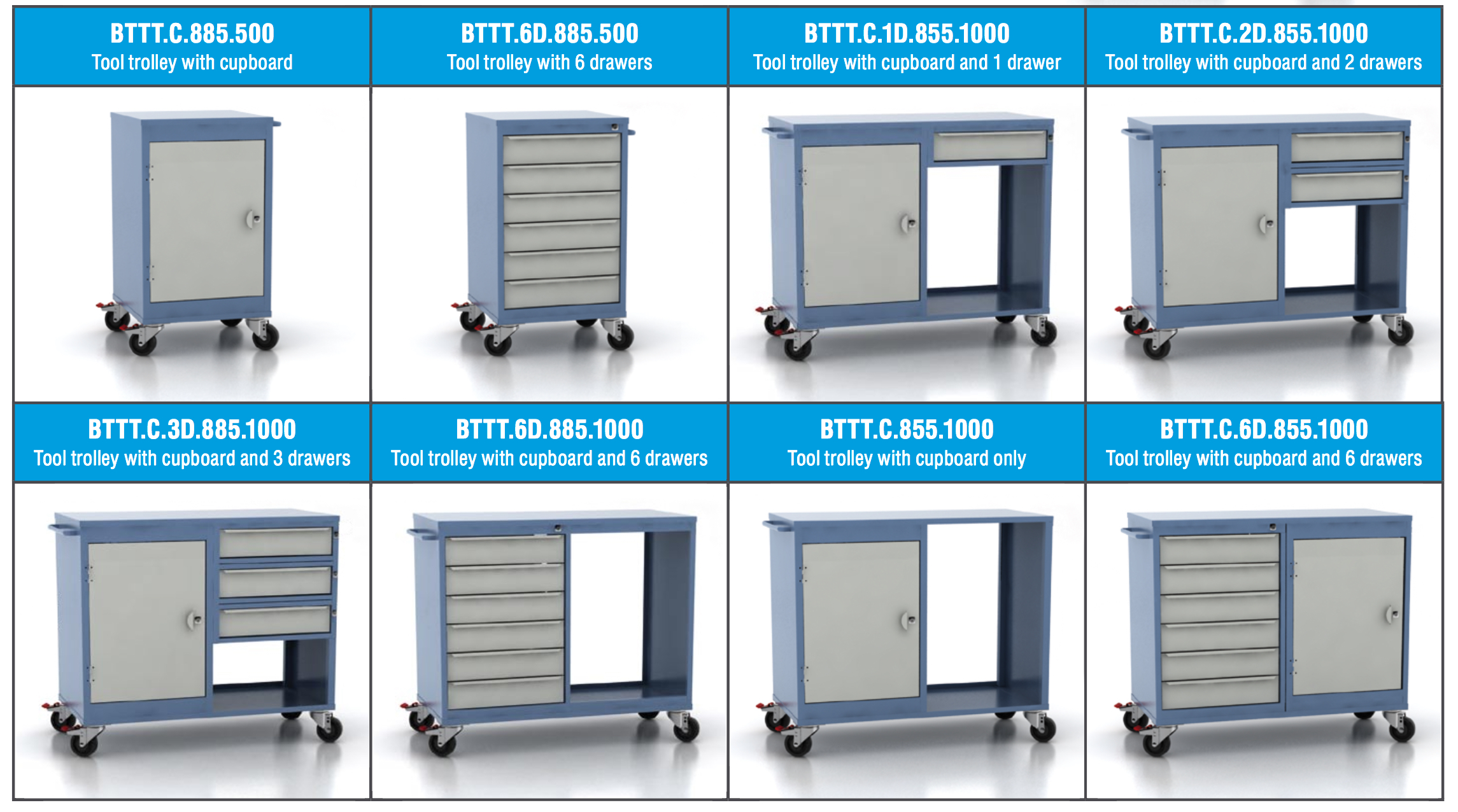 Mobile tool trolley combinations