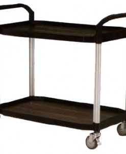 Rapini Plastic Large Service Cart, 2 Tier, Black