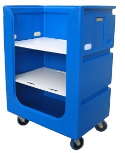 Blue Tallboy Linen Exchange Trolley (TLET5) with Shelves for Clean Linen