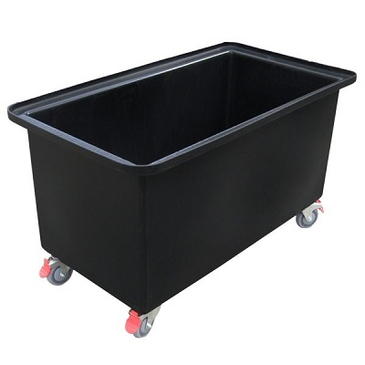 Black 250 litre Rectangular Tub Trolley